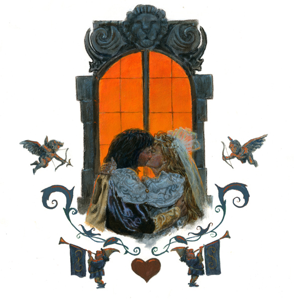 Art:  Wedding Kiss (from the fairytale wedding of Rapunzel and the Prince)  Original art by Jim Harris.