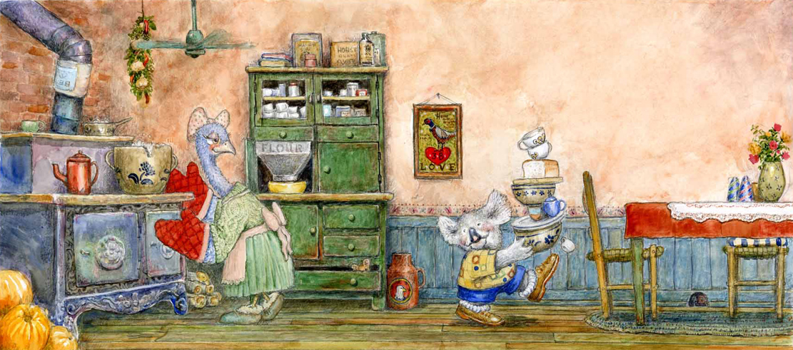 Art: U0027KOALA IN A COZY KITCHENu0027 (A Koala Bear Cooking With A