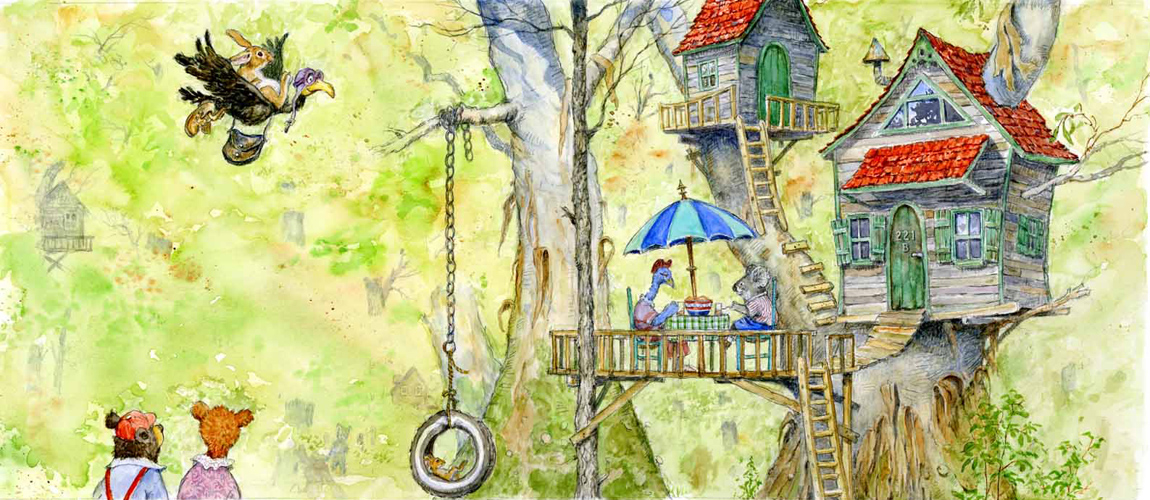 Painting of a Treehouse: 'TREE HOUSE WITH A TIRE SWING ...