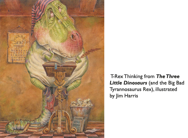 'T Rex Thinking'  The T Rex from Three Little Dinosaurs… badly in need of tips for catching young brachiosaurs!