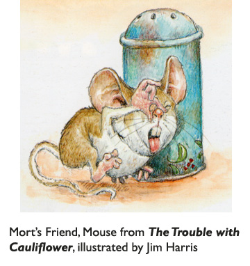 'Mort's Friend, Mouse'  Mouse has some advice for young Mort:  Don't eat cauliflower!  Watercolor illustration from The Trouble with Cauliflower.