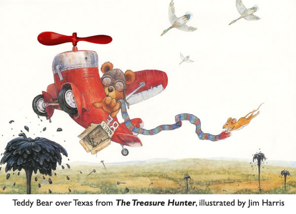 'Teddy Bear over Texas'  Children's book illustration by Jim Harris.