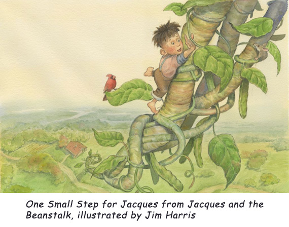 'One Small Step' One young Cajun who decided not to take his MaMa's advice.  From Jacques and de Beanstalk by author Mike Artell and illustrator Jim Harris.