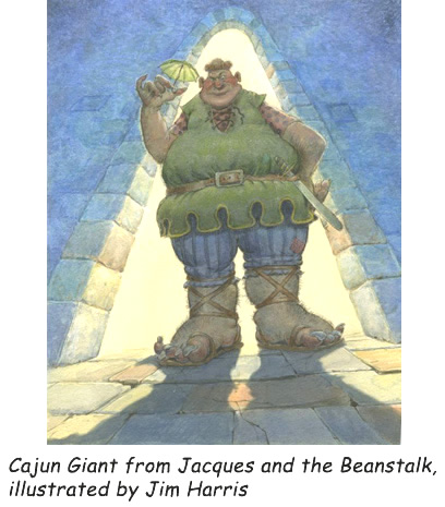 'Cajun Giant'  Watercolor illustration from Jacques and de Beanstalk, a children's Cajun fairy tale by writer Mike Artell and illustrator Jim Harris.