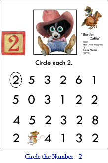 Circle the Number Worksheet Two (2) with Border-Dollie puppy art and a ...