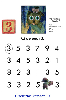 Circle the number worksheets circle the number worksheet three 3 with yorkshire terrier puppy art and a ibookread ePUb