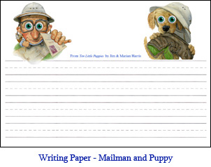 Lined Student Writing Paper Mutt And Mailman Dog Pictures From Ten Little Puppies