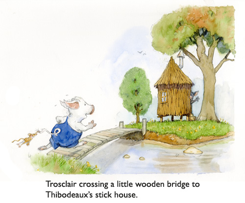 Trosclair On the Bridge.  Will Trosclair make it to Thibodeaux's house of sticks?  Yes.  We are sure of that, because nothing bad can EVER happen to the Jim Harris mouse (on Trosclair's tail).