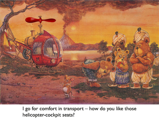 'The Treasure Hunter's Helicopter'  A rescue-mission scene from a particularly romantic episode of Bear's life.  Mouse is embarrassed.