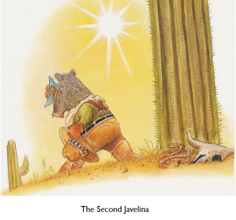 'The Second Javelina' on his way to build a house of saguaro ribs, instead of the traditional fairytale house of sticks.