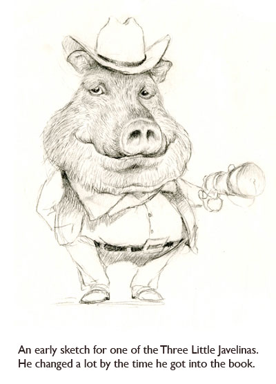 An early javelina character sketch by artist Jim Harris for the Southwestern children's classic, The Three Little Javelinas.