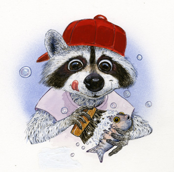 'Red Cap Raccoon'  by illustrator Jim Harris.  A little fellow that turned up one day in the pages of Ranger Rick magazine.