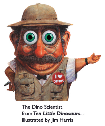 The Dino Scientist from the last page of the wiggly-eyeball picture book, 'Ten Little Dinosaurs.'  Detailed character illustration in acrylic by Jim Harris.
