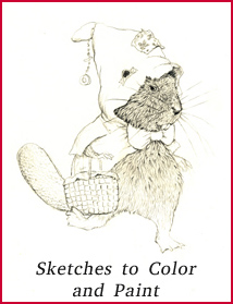 Print some coloring pages of funny animals Jim Harris sketched in the process of creating his picture books.