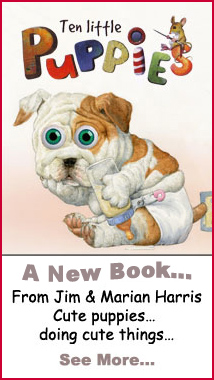 Meet the adorable puppies from Jim Harris's new wiggly-eyeball picture book, Ten Little Puppies.