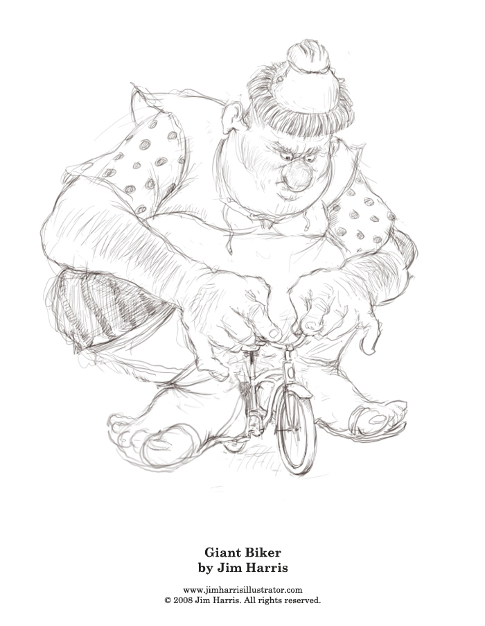 Fairytale Coloring Page  The Giant on a Bike from Jack and the