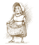'Jacques' MaMa'  Coloring Page of a Cajun lady, from an original sketch by Jim Harris for the Cajun fairy tale, Jacques and de Beanstalk.