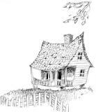 'House on the Bayou'  Coloring page of a house.