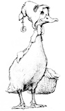'Petite Rouge'  Coloring page of a duck with a basket – Petite Rouge herself!