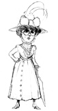 'Miss Prim'  Coloring page of an elegant old-fashioned lady.