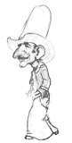 'Slim' Coloring page of a cowboy in a ten-gallon hat.