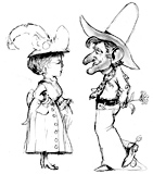 'Slim and Miss Prim'  Coloring page of a cowboy and a pretty lady.