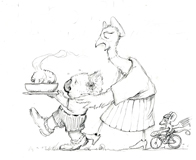 'Sadie's Stew'  Coloring page of Mort the Koala Bear with his good friend Sadie the Bird.  Mouse follows on his bicycle.