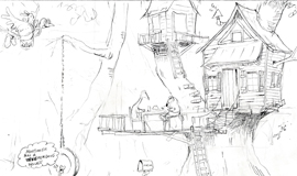 'House in the Tree' Coloring page of a tree house picnic at Mort the Koala Bear's house.