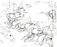 'Ambush' Coloring Page of coyote rustlers ready to attack a ranch.