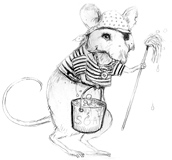 'Davey Jones' Coloring page of a mouse dressed like a sailor.  Or is that a rat???