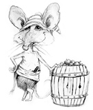 'Peg-Leg' Coloring page of a mouse sailor with a barrel of apples.