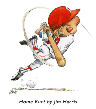 'Home Run'   An illustration from the very first brochure Jim sent out to art directors in the process of becoming a children's book illustrator.