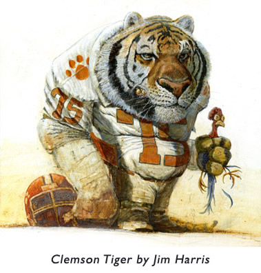 'Clemson Tiger'  One of Jim's early illustrations… using acrylic, oils and a tad of house paint.  It won an award of merit from the New York Society of Illustrators.