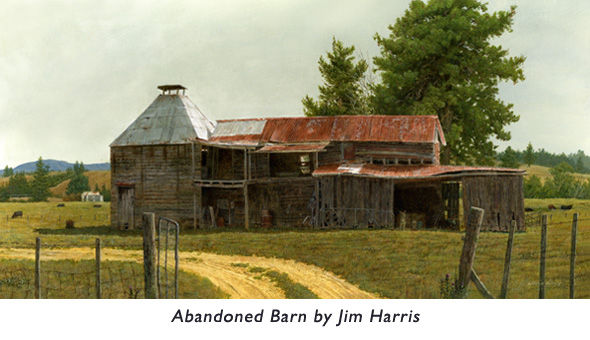 'Abandoned Barn'  An old barn painting dedicated to one of Jim's favorite art teachers… an expert on techniques for painting old barns.