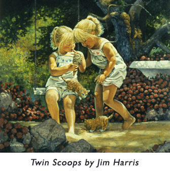 'Twin Scoops'  A collector's plate illustration from early in Jim's illustration career.  One girl and one kitten modelled for the double pairs of twins… a popular illustration technique.