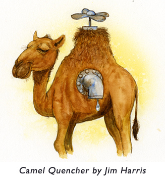 'Camel Quencher'  An illustration from later in Jim's illustration career…  created for students reading Ranger Rick magazine.