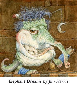 'Elephant Dreams'  A little creature who isn't sure if he'd rather be an elephant or pursue a career as a children's book illustrator.